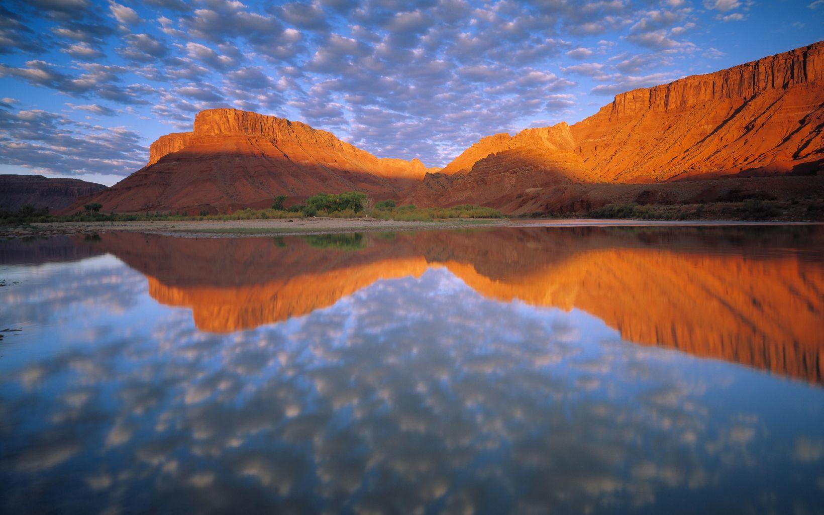 Buttermilk Clouds above Colorado River at Sorrel River Ranch in Utah.