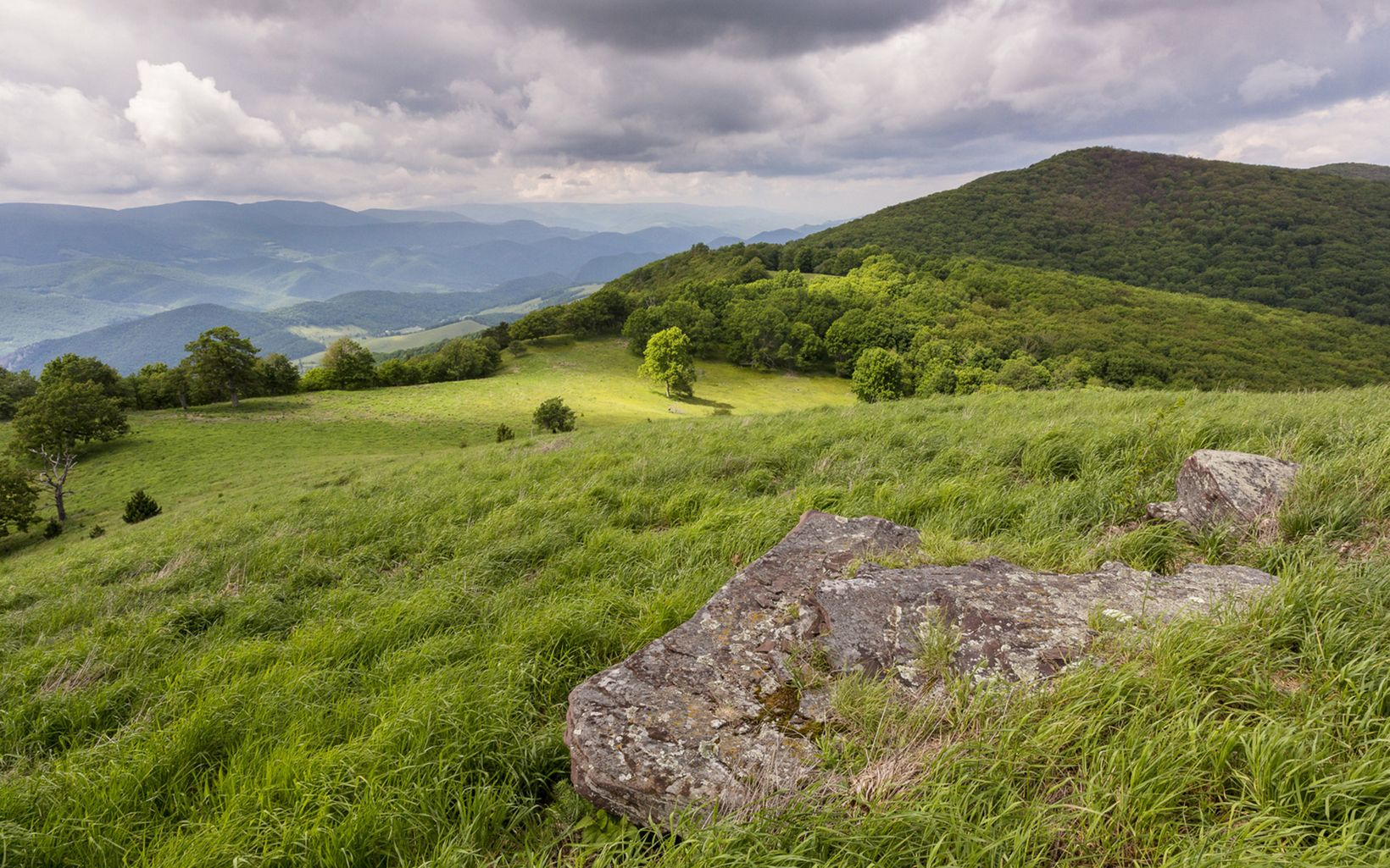 View of  TNC's Pike Knob Preserve in West Virginia amid
