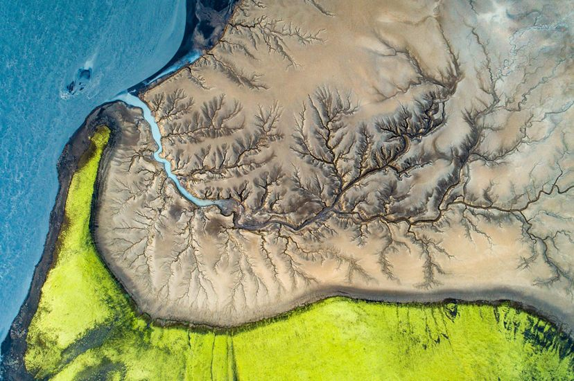 An aerial view of a river system in Iceland.