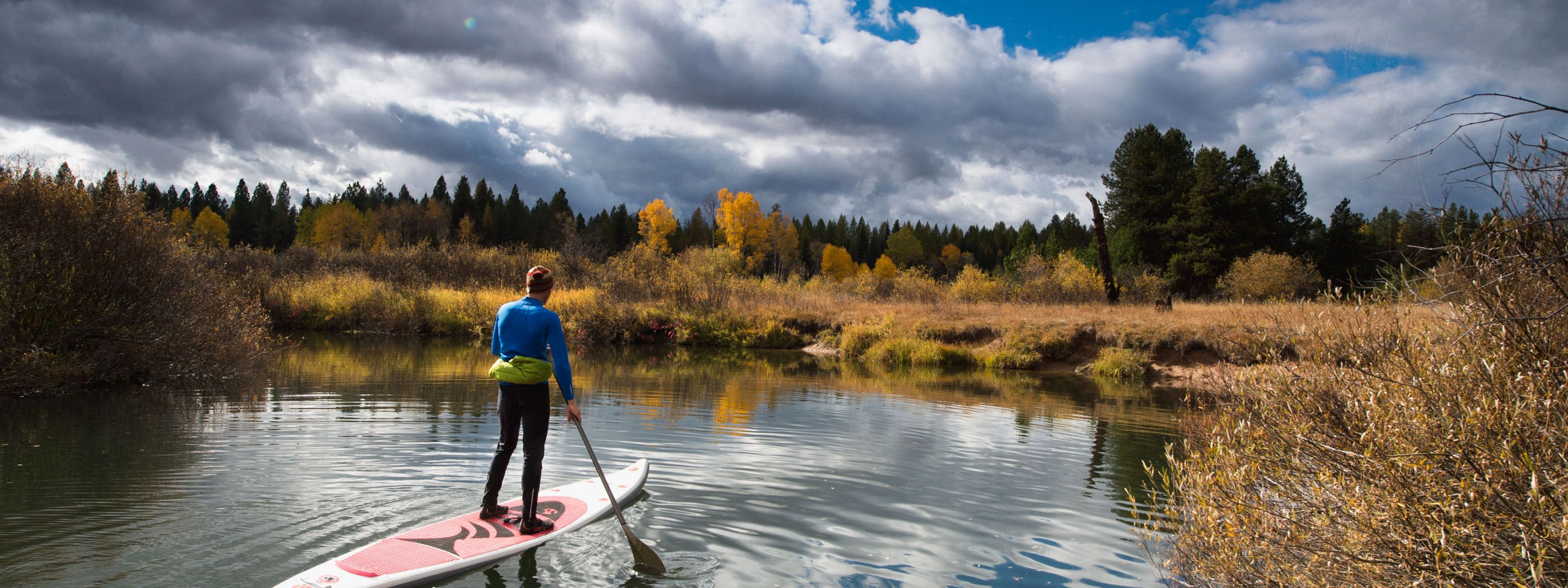 Brandon French paddles along the Clearwater River Canoe trail, Montana.