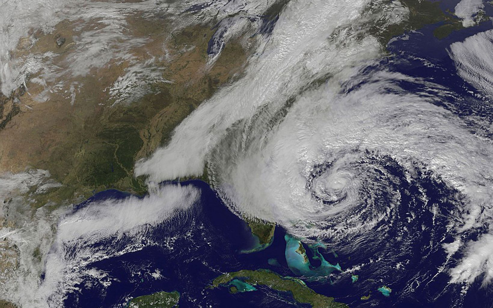 satellite image of the storm approaching the coast