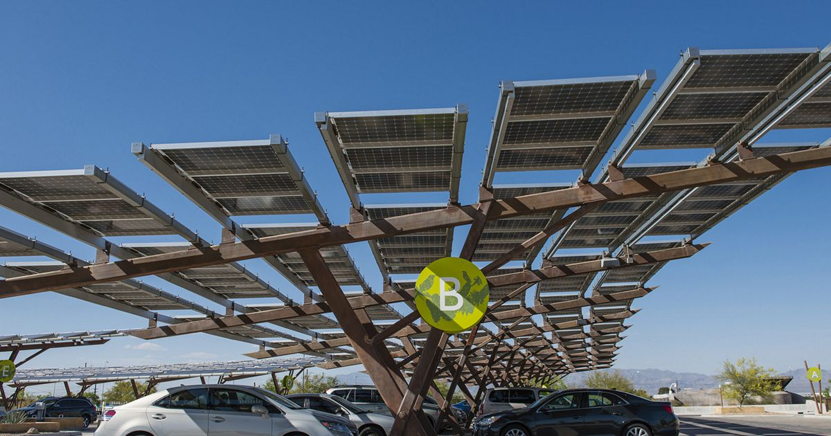 A solar installation in Las Vegas over car parking also