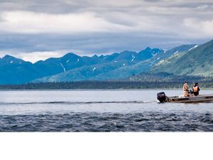 A fishing boat on Lake Aleknagik in Alaska's Bristol Bay.