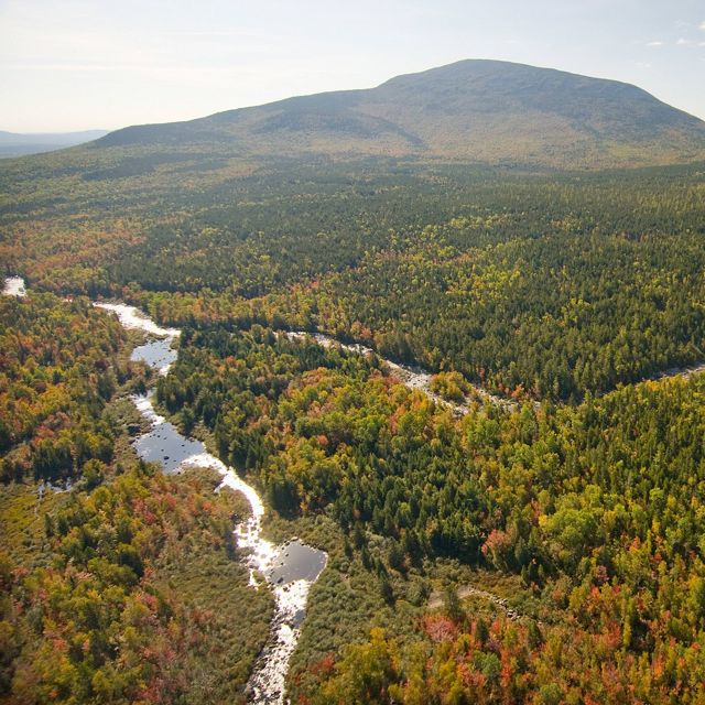 Aerial view of the West Branch of the Penobscot River and tributaries as it winds to the southeast of Mount Katahdin.