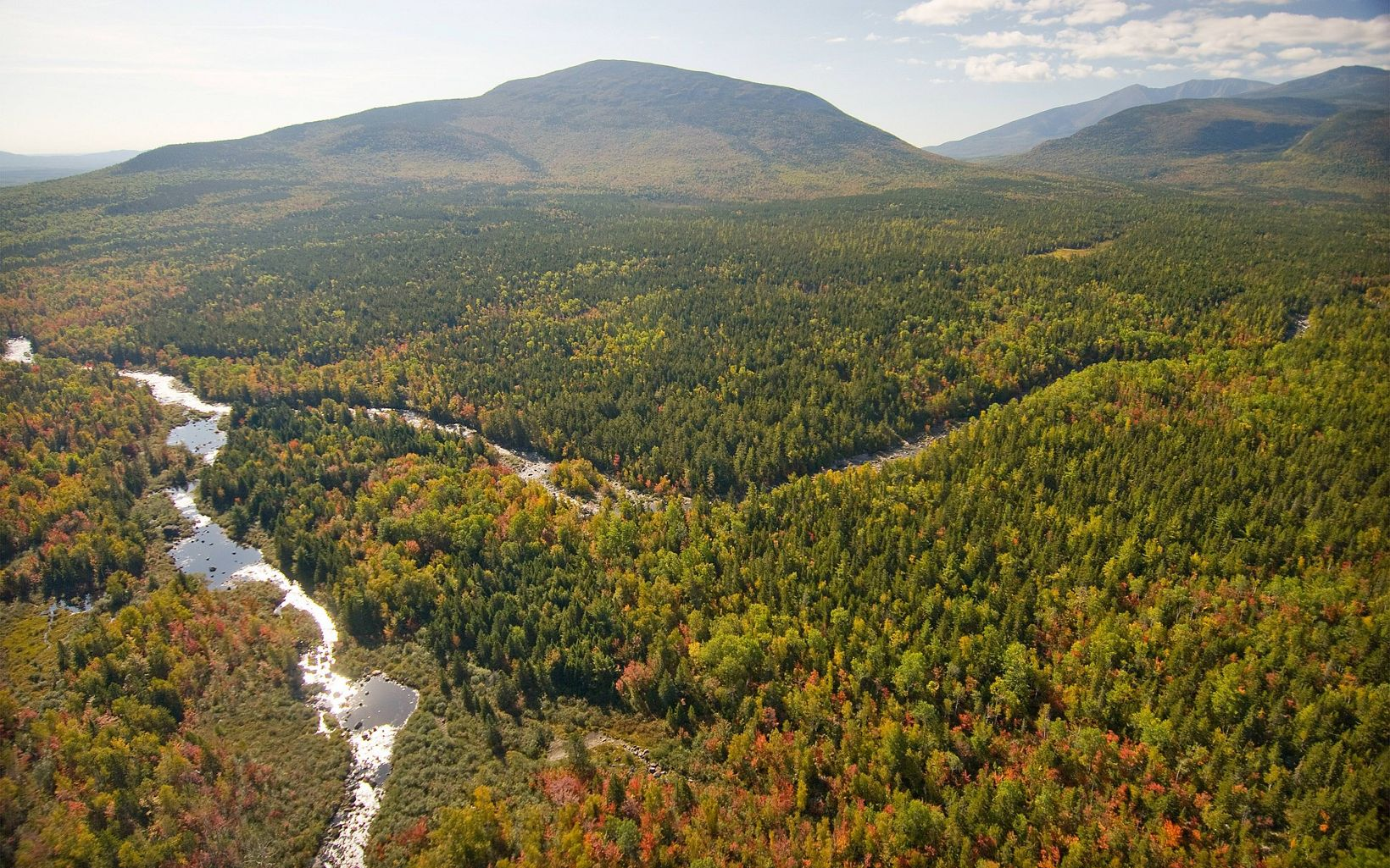 West Branch of the Penobscot River and tributaries as it winds to the southeast of Mount Katahdin.