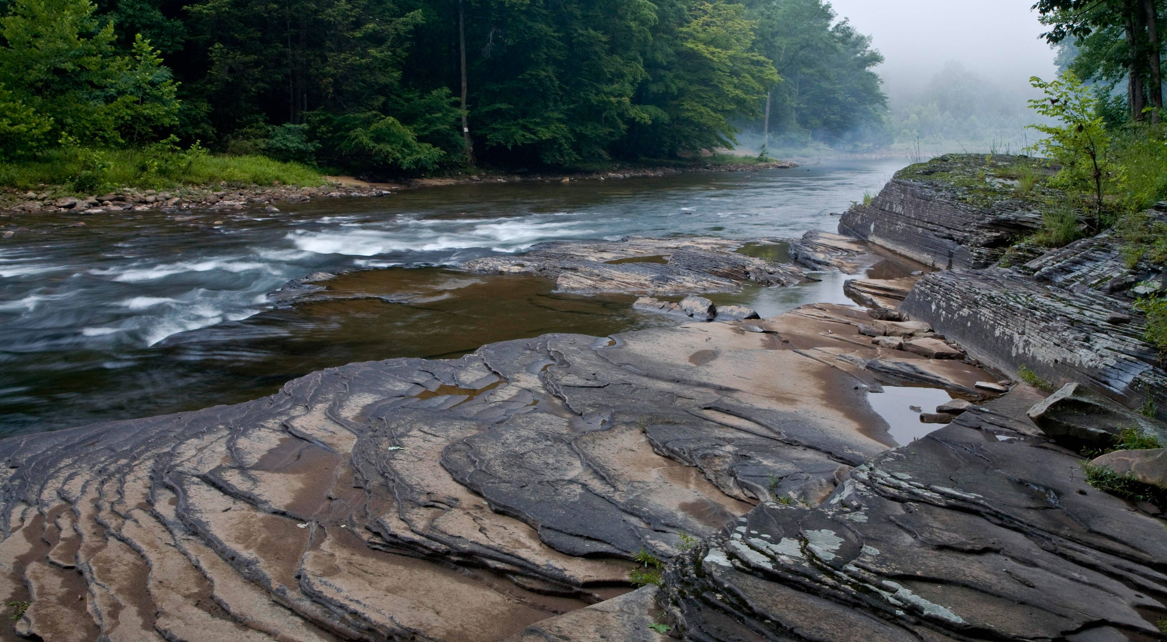 Morning mist over the Dry Fork River, a tributary of the Black Fork of the Cheat River in eastern West Virginia.