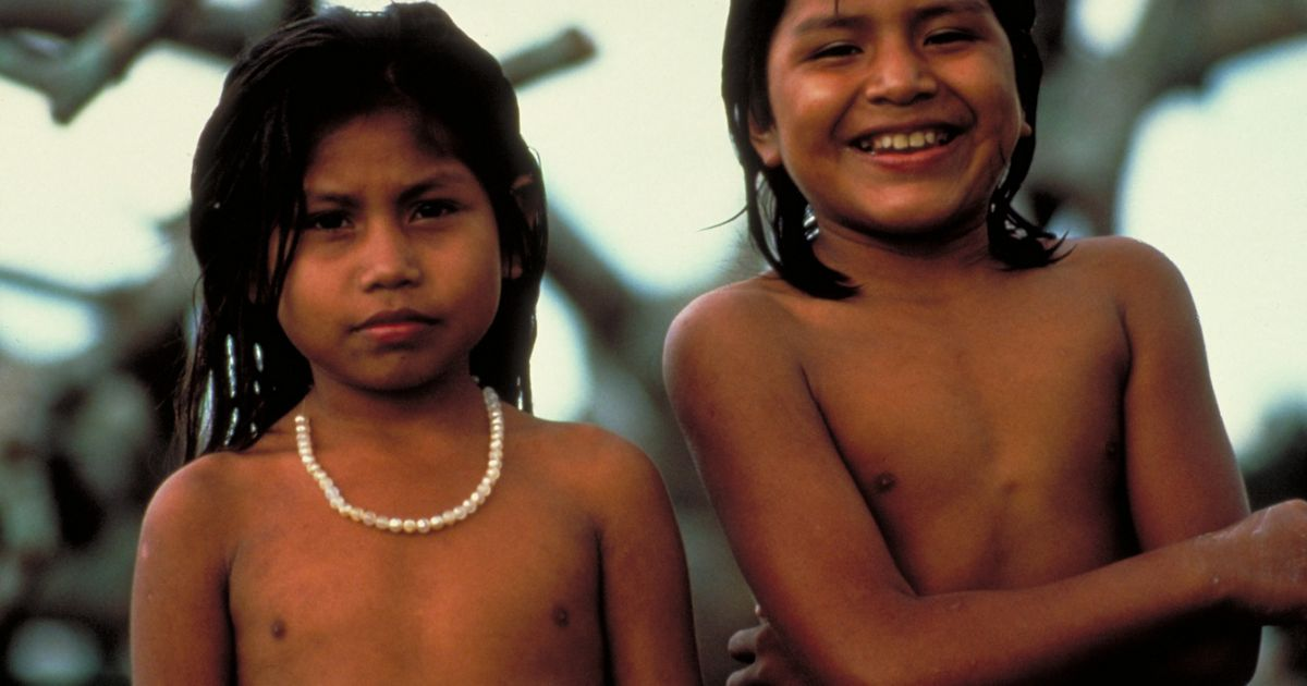 Chiquitano children living in one of the local communitites just outside the border of Noel Kempff Mercado National Park in Bolivia.