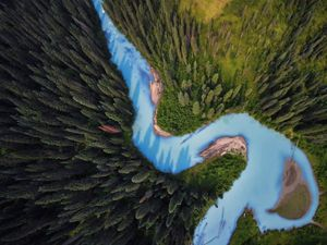 Aerial view of Holmes River, British Columbia.