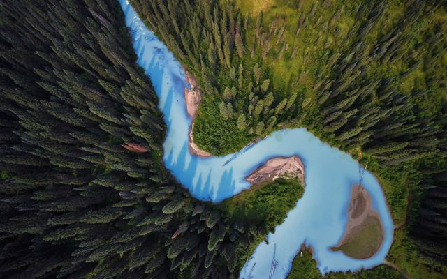 Aerial view of a glacial river in British Columbia.
