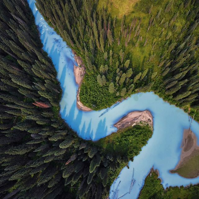 An aerial view of the Holmes River, British Columbia, Canada.