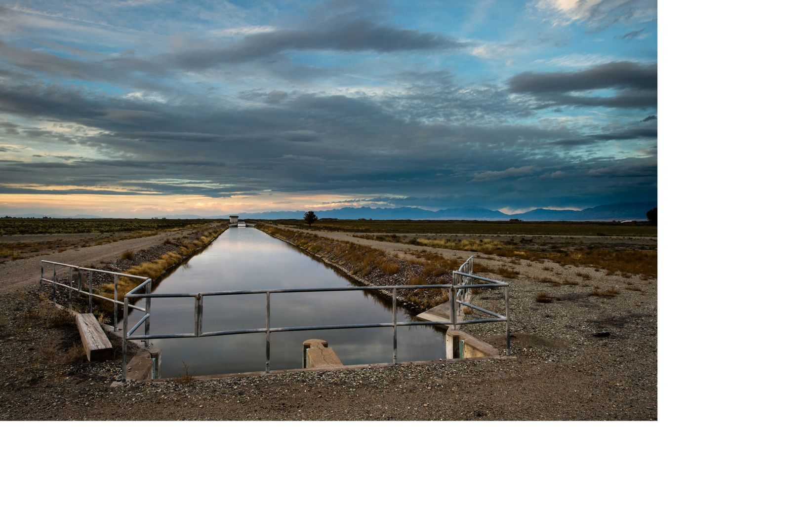 Irrigation channel stretching across the San Luis Valley in Colorado.