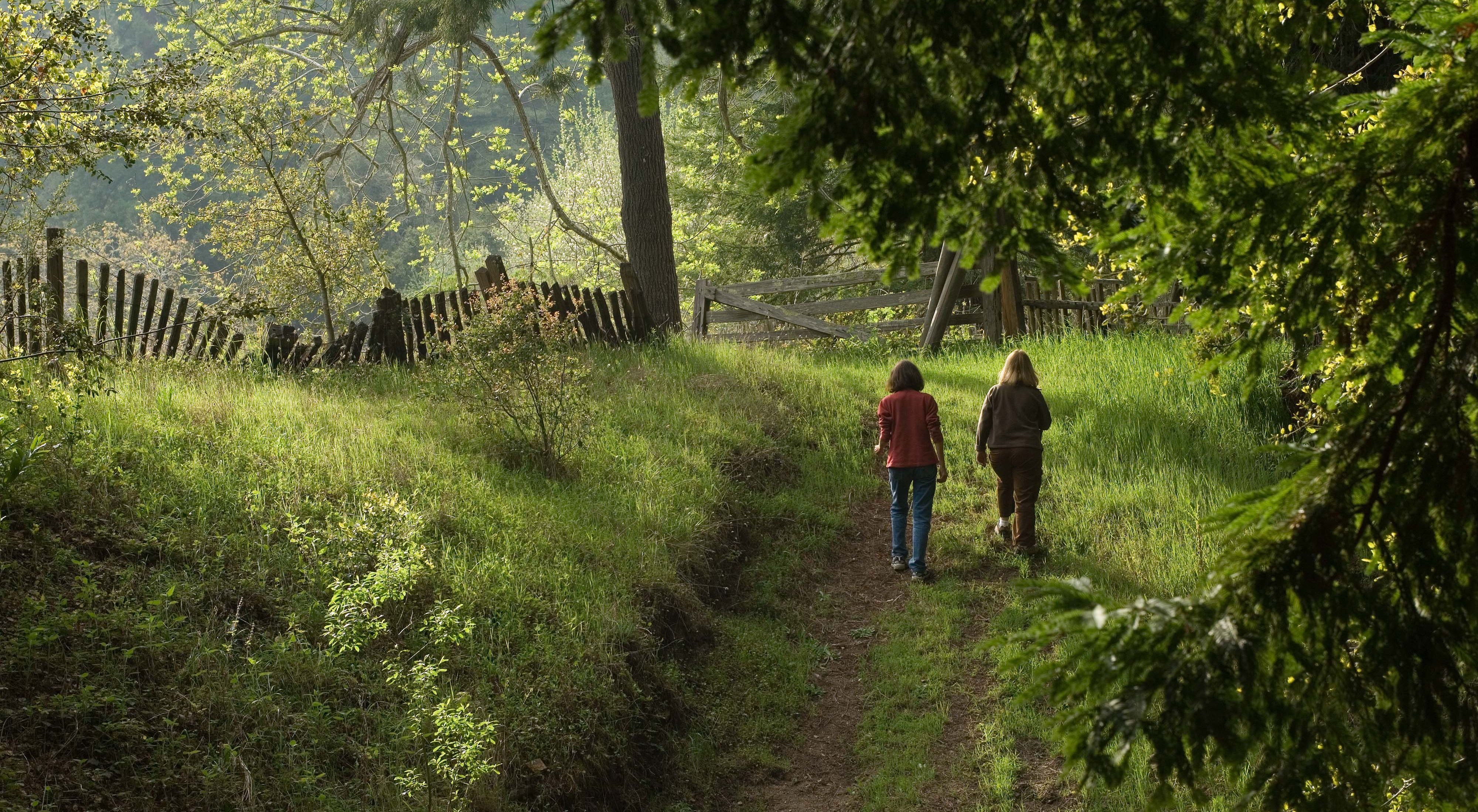 Two hikers walking down a path to a fence.