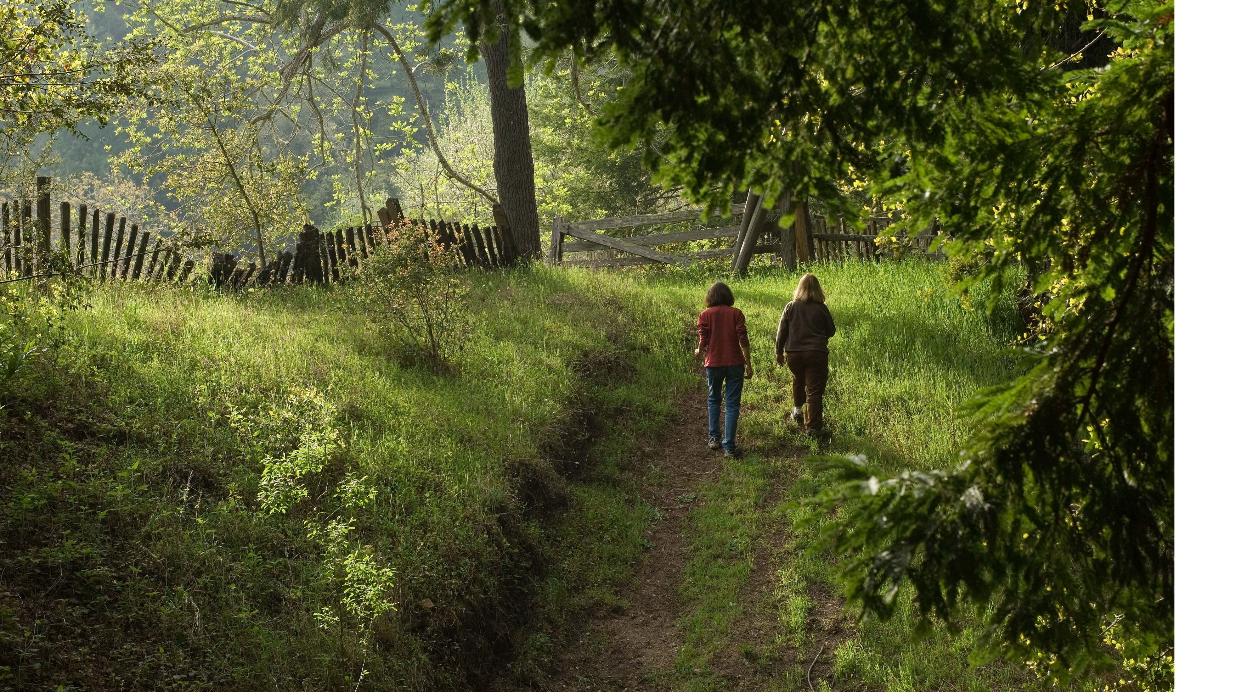 Visitors explore the old homestead at The Nature Conservancy's Palo Corona Ranch in Monterey County, California.