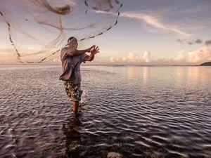 A reef fisherman on the island of Kosrae, Micronesia.