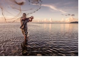 A reef fisherman on the island of Kosrae, Micronesia.