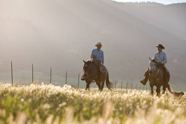 Photo of two cowboys riding on the plains.