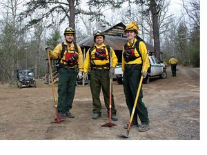 Burn crew members at Trappers Lodge staging area prepare for the Big Wilson Burn on Warm Springs Mountain in Bath County, Virginia.