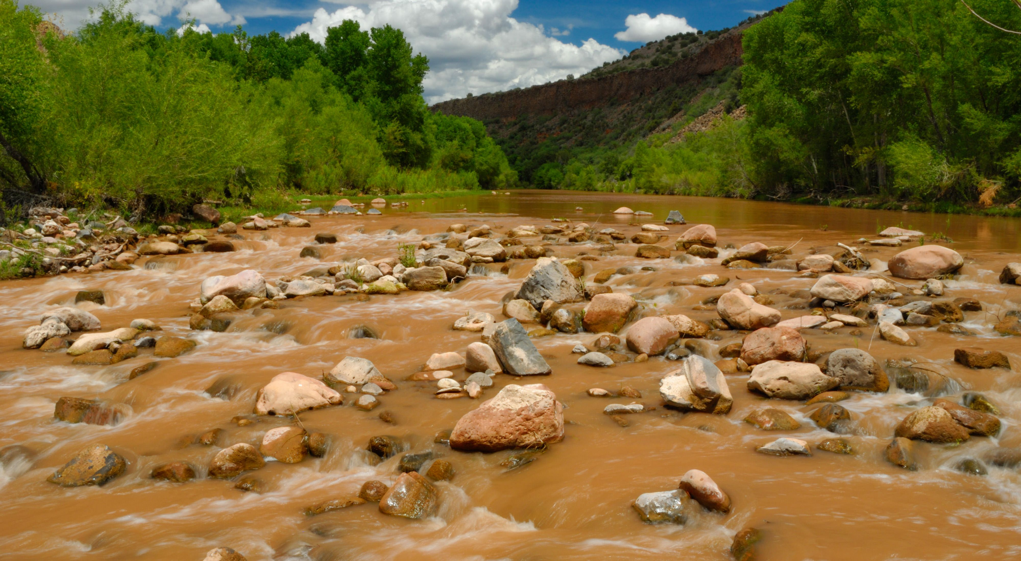 Wide-angle view of a fast-moving, but shallow muddy river.
