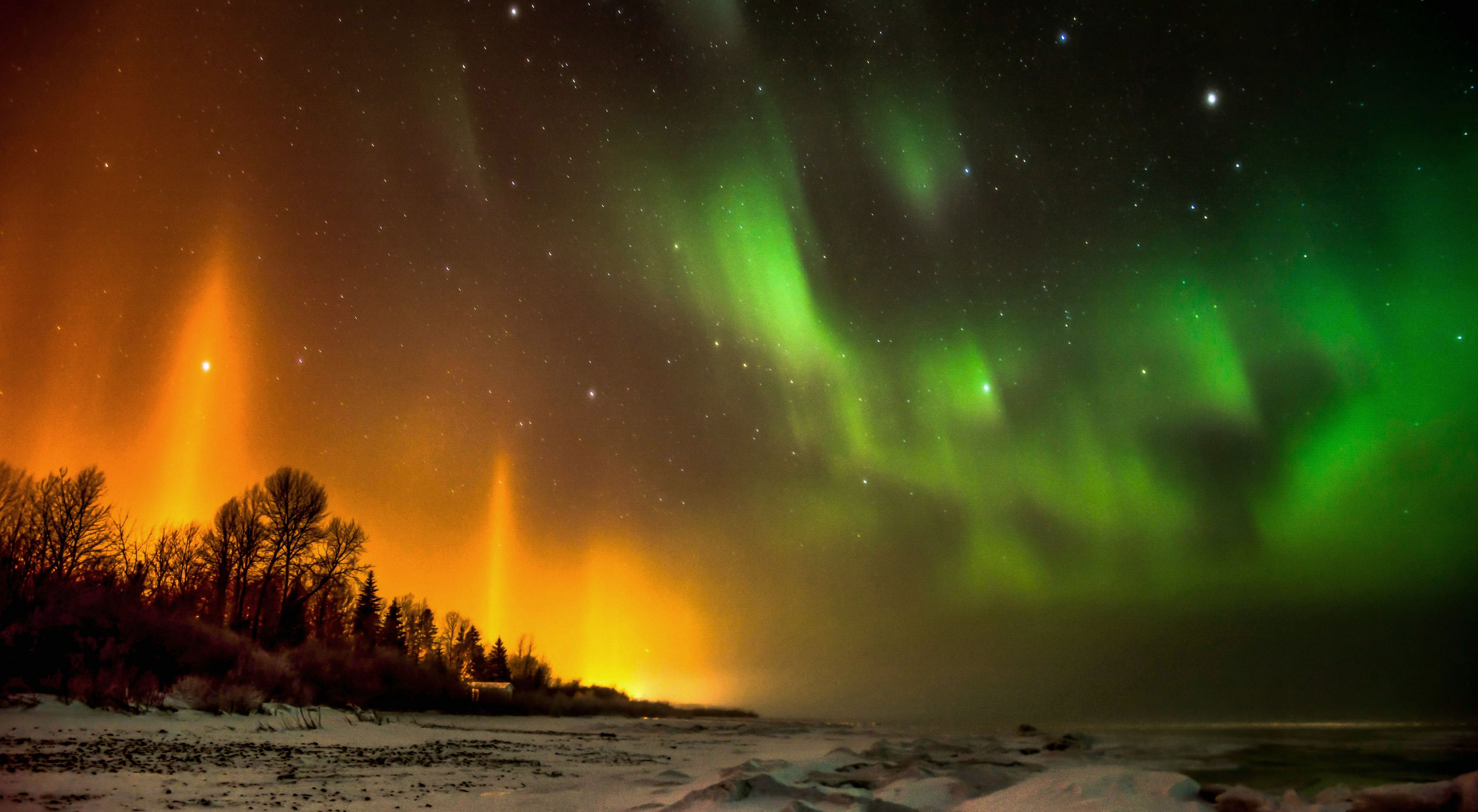 Northern Lights; South shore of Lesser Slave Lake in Alberta, Canada