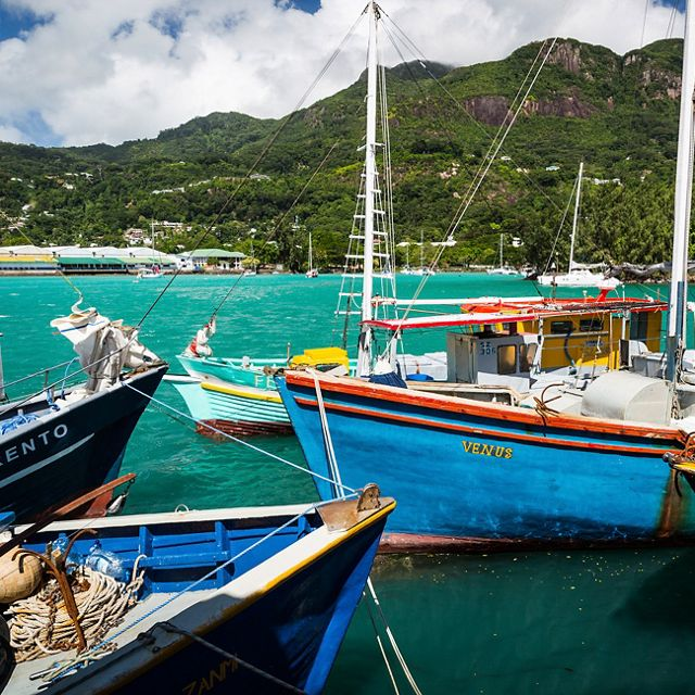 Colorful fishing boats harbored in a turquoise ocean