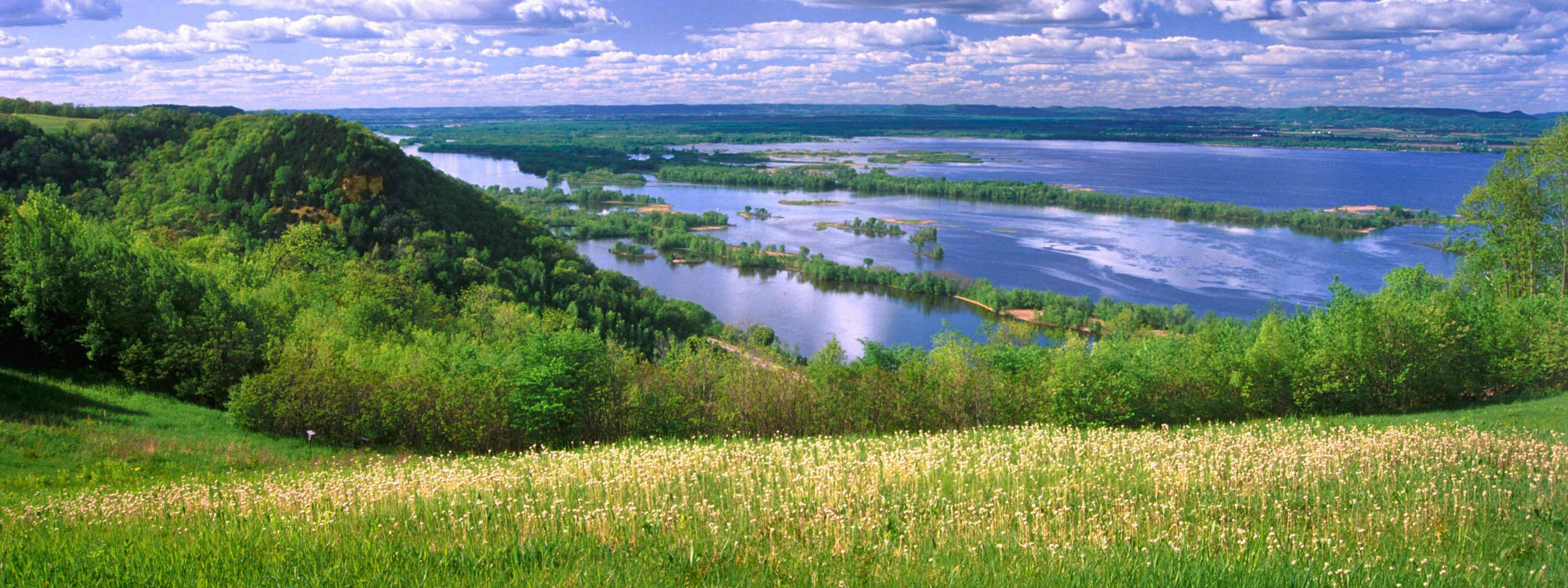 View of the Mississippi River from a field in Onalaska, Wisconsin