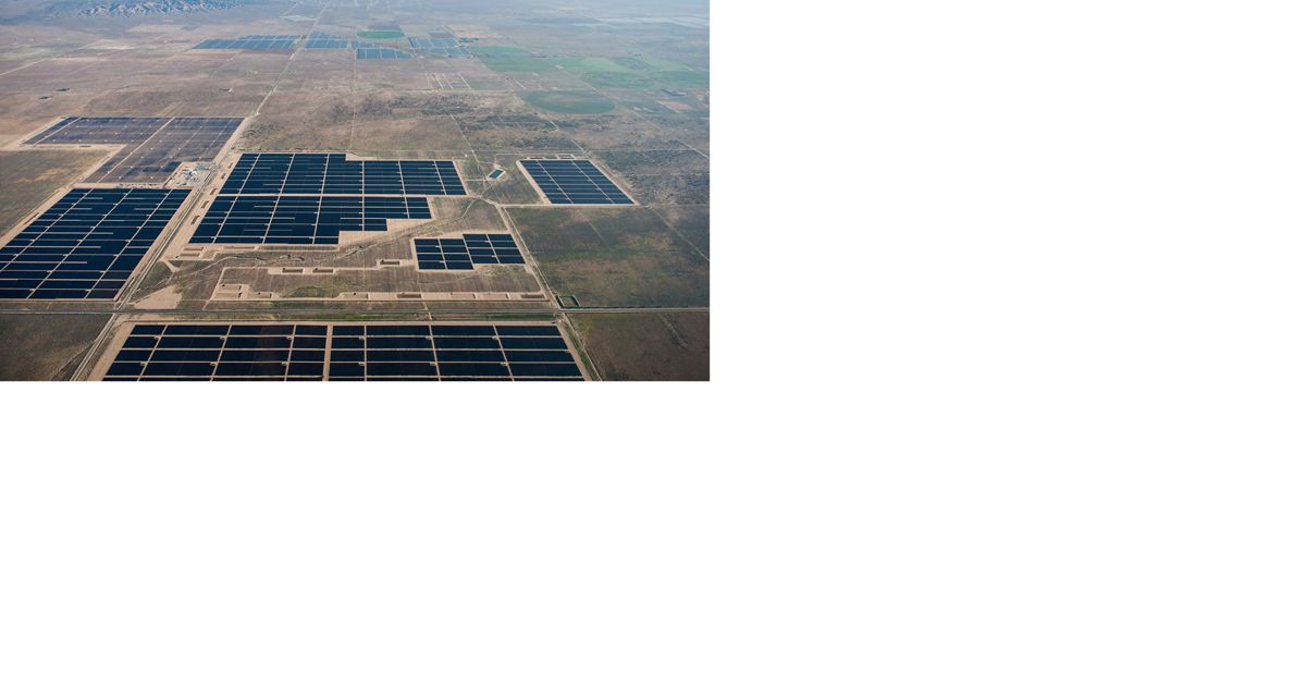 aerial view of a solar array