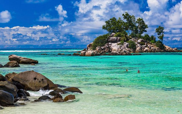 a rocky tropical island