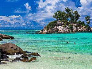 Landscape in Anse Royale Beach, Mahé Island, Seychelles.