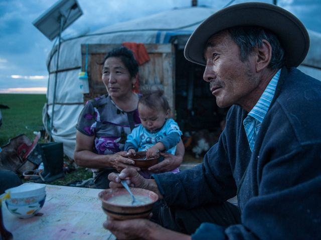 """In Toson Hulstai Nature Reserve, herding families live in traditional Mongolian """"gers,"""" or tents—transportable dwellings framed with local hardwood and covered by wool felt."""