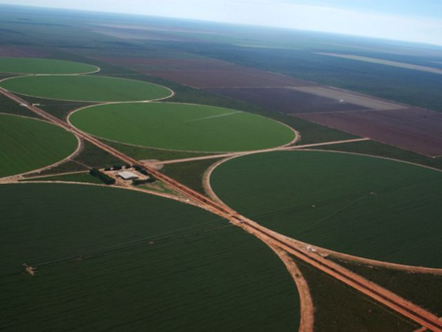 Soy watering system in western Bahia, Brazil, the new soybean frontier. Soy is taking over the Brazilian Cerrado, the world's most biodiverse savanna.