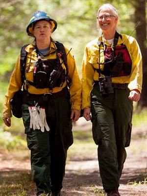 TNC's Judy Dunscomb (r) and DCR's Rebecca Wilson (l) at the May, 2017 controlled burn at Virginia's Piney Grove Preserve.
