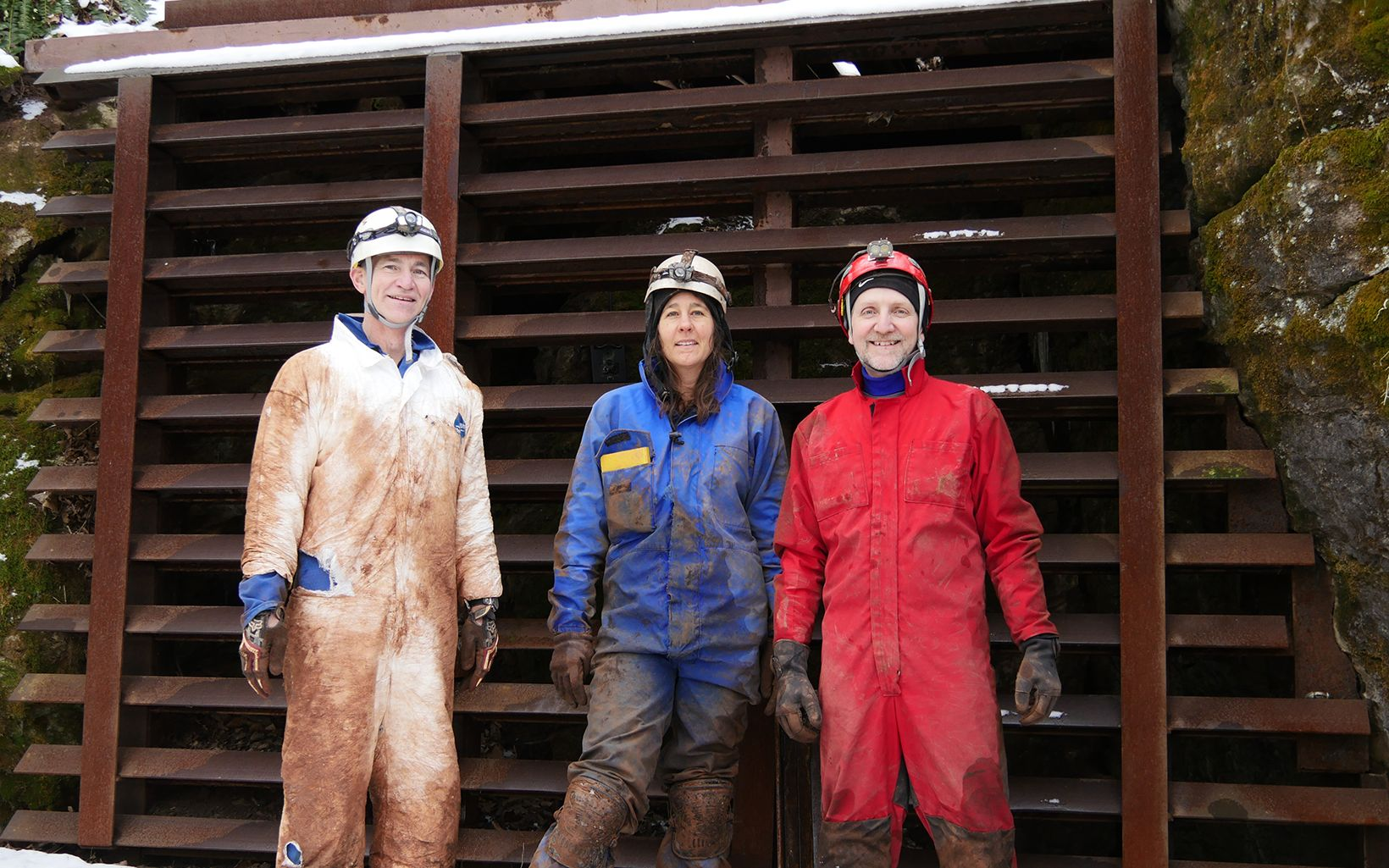 The muddy research team after exiting the mine.