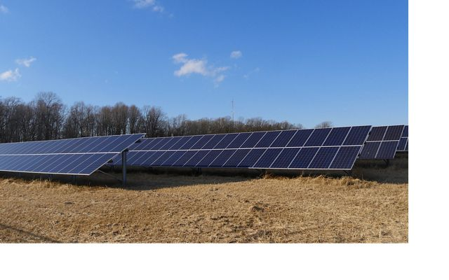 Solar panels located off Route 50 near Chesapeake College on the Eastern Shore of Maryland.