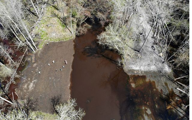 Drone footage showing water receding from a recent flood event along the Pocomoke River. The breach on the right is dry indicating water is staying in the floodplain.