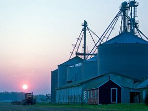 The sun rises over a farm in Maryland. A tractor drives past several low outbuildings flanked by five towering silos.