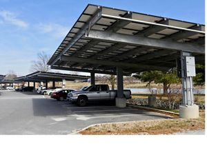Solar energy capturing structures above Chesapeake College parking lot on Maryland's Eastern Shore.