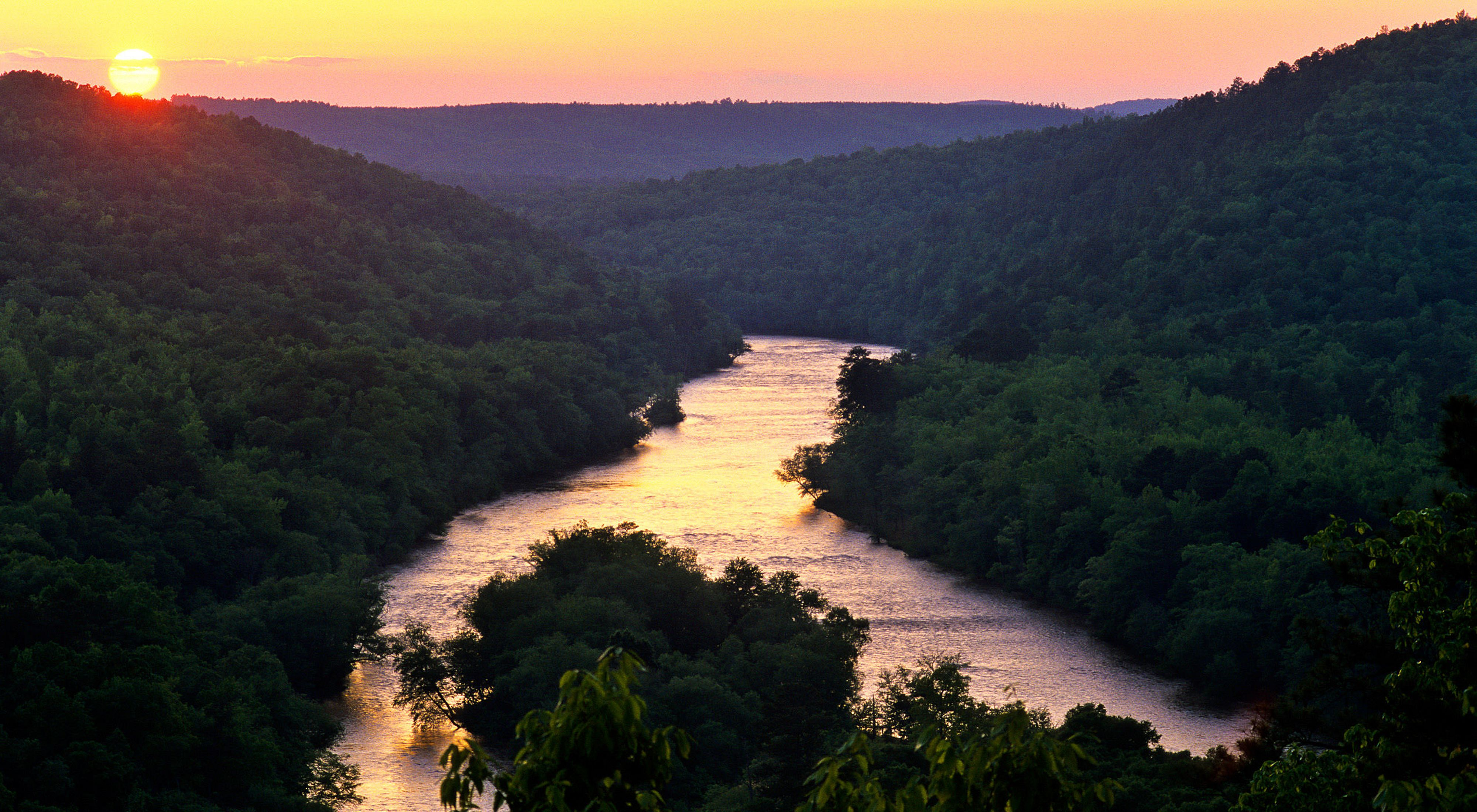 Sunset over the Flint River, Georgia.