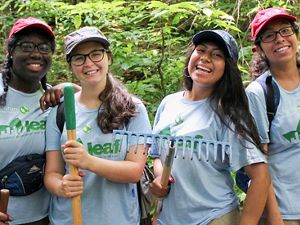 LEAF interns work at Black Cap trail in the Green Hills Preserve.