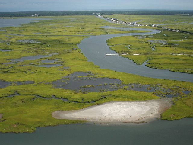 Aerial view of a bright green salt marsh on the Delaware Bay.