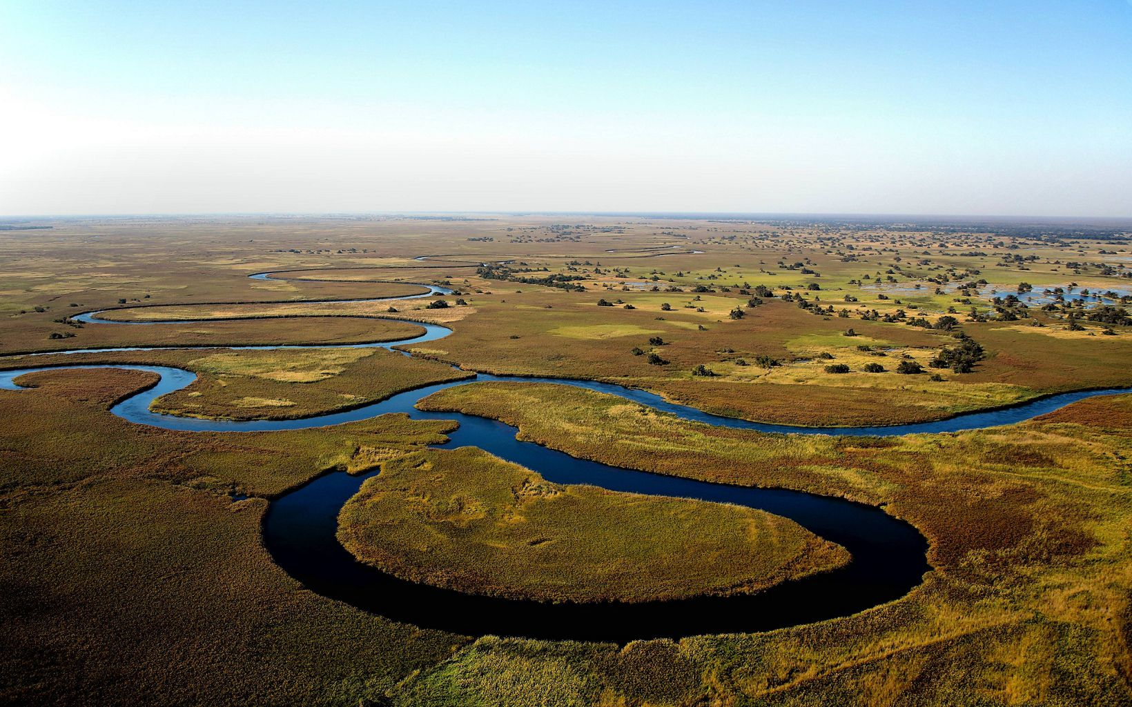Aerial of the Okavango River in Botswana. TNC is working with partners here to ensure that this breathtaking habitat has enough water as infrastructure projects progress.