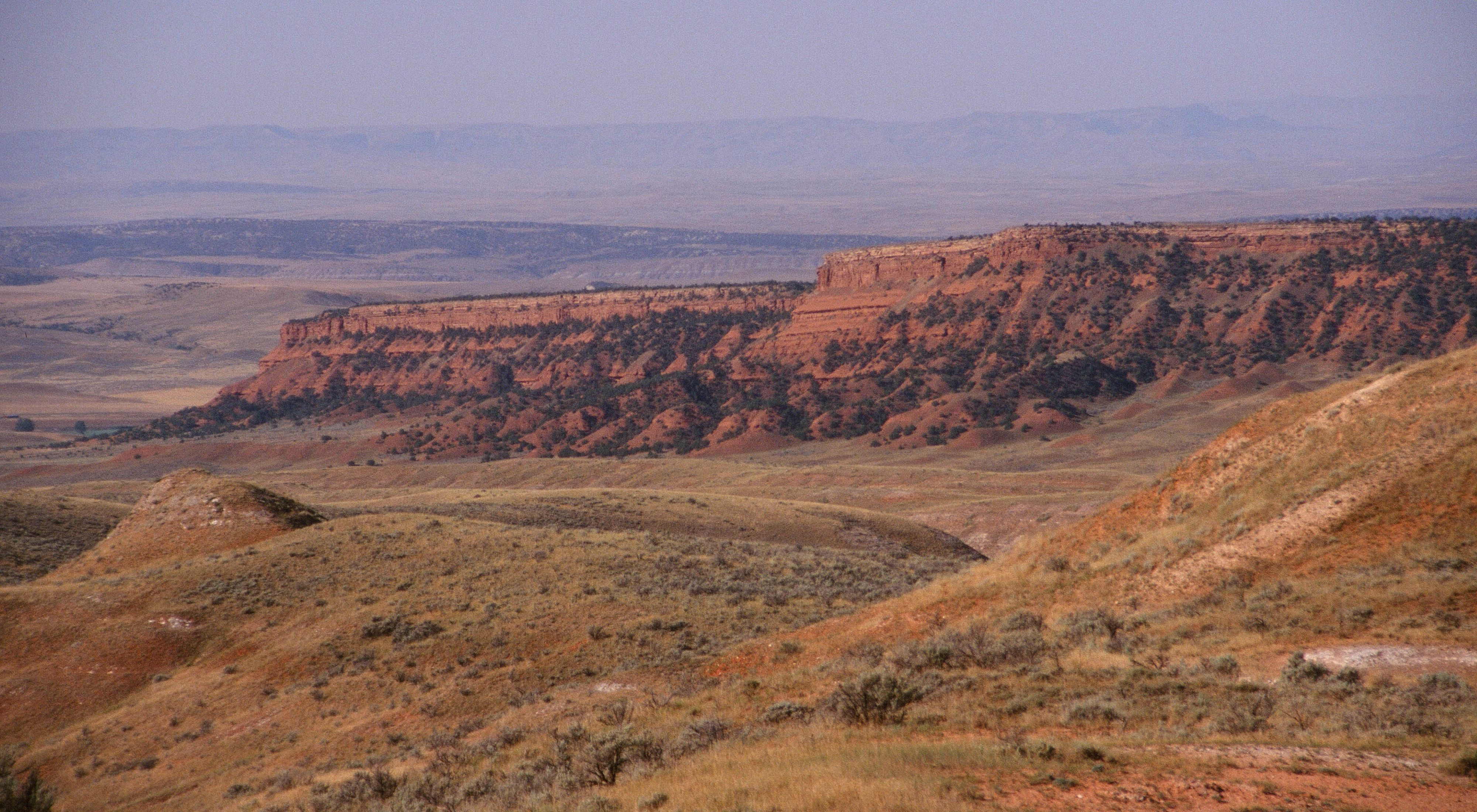 (ALL INTERNAL RIGHTS) The land as it rises up to Tensleep Preserve from the Big Horn Basin. PHOTO CREDIT: © 1996 Edward Orth